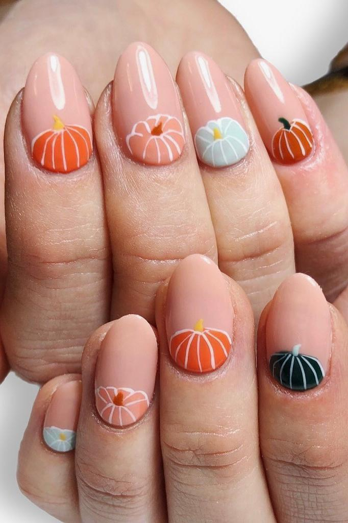 best halloween nail polish art trends manicure hard soft gel pumpkins skills black orange blue pink gold