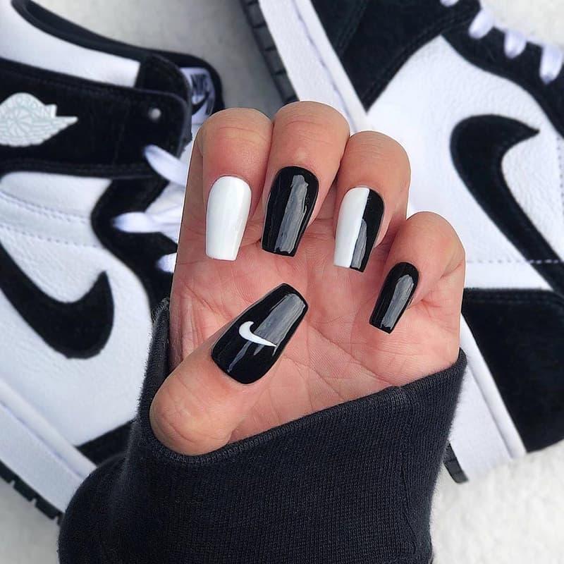 HYPEBAE Instagram Fashion Style Sneakers Inspiration Nike Black White Swoosh Logo Nail Nails Art Manicure Design
