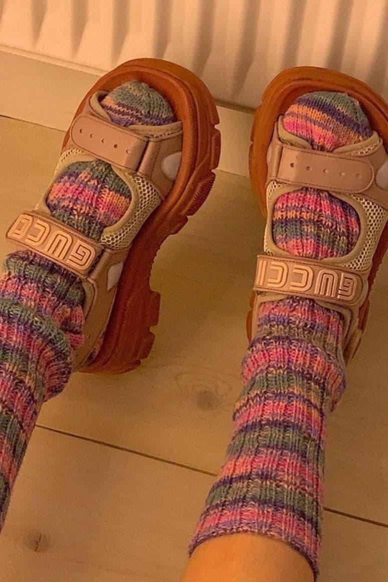 gucci chunky ugly dad sandals velcro retro vintage logo socks fall winter
