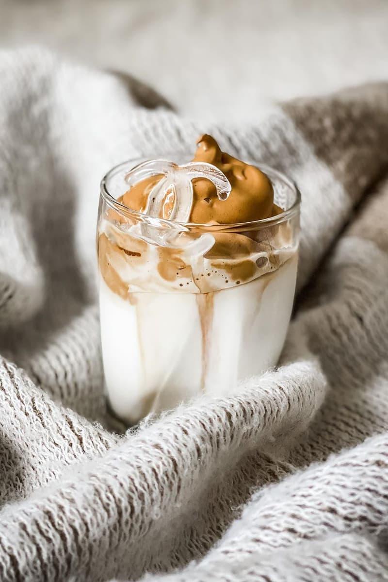 viral coffee latte recipe dalgona milk chanel logo ice