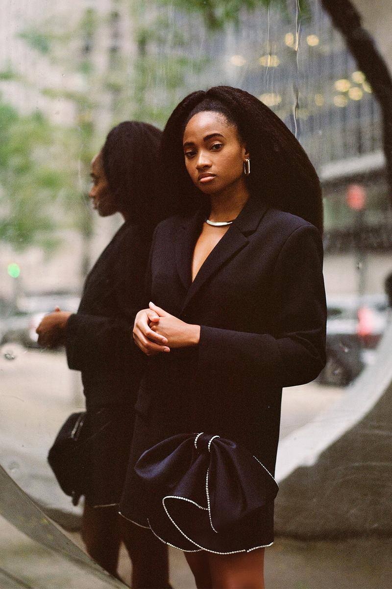 candace marie stewart social media strategist black in corporate initiative black blazer necklace earrings skirt