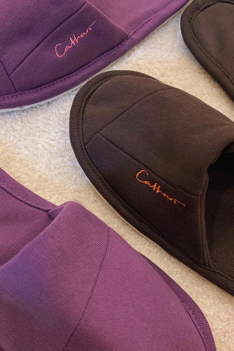 danielle cathari upcycled home slippers sustainability brown purple footwear shoes