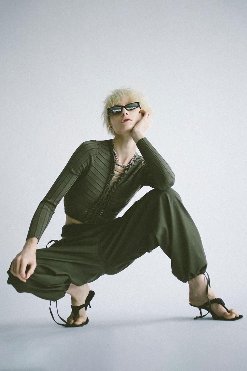 dion lee fall winter collection all black khaki fishnet trousers tops suits price release minimal