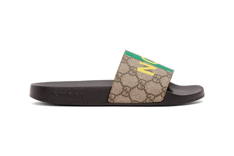 gucci brown not fake gg sandals slides slippers footwear yellow green red