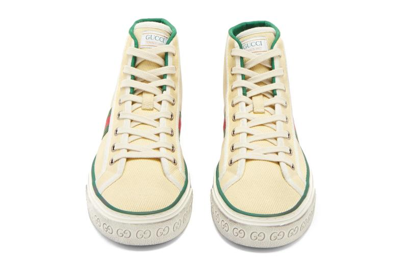 gucci tennis 1977 high-top sneakers canvas ivory green red stripes price info
