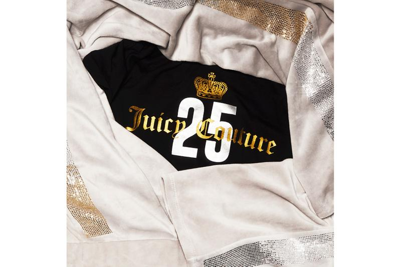 Juicy Couture 25th Anniversary Collection Tracksuit Rhinestone Velour Black