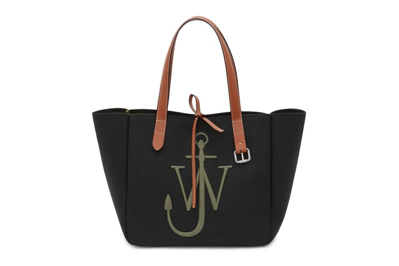 jw anderson eco-conscious belt tote bags sustainable canvas anchor logo pink blue black