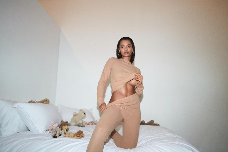 kim kardashian skims waffle collection loungewear underwear bras leggings campaign ming lee simmons