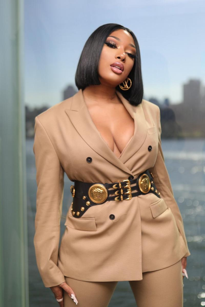 Megan Thee Stallion Music Artist Rapper Louis Vuitton Earrings Beige Blazer Bob Haircut Hairstyle Black