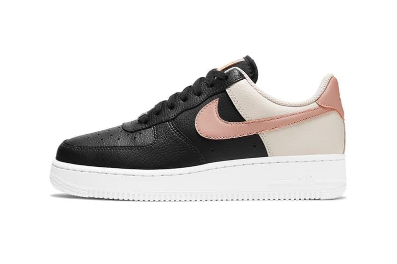 nike air force 1 07 womens sneakers black pink beige white colorway sneakerhead footwear shoes