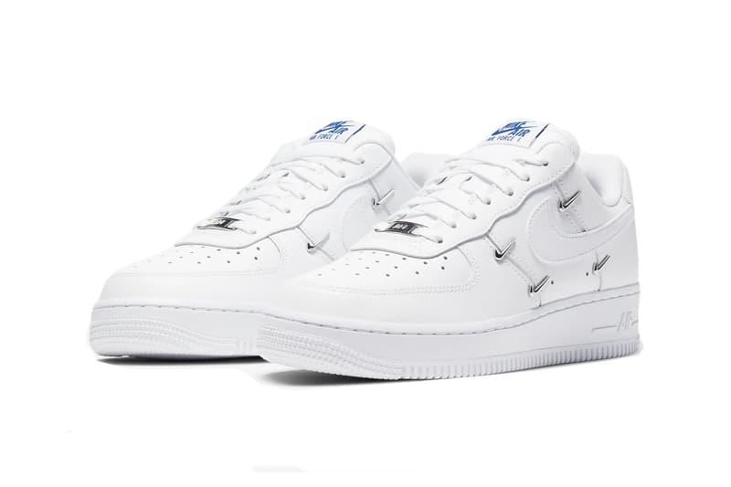 Nike Air Force 1 Metallic Swoosh Embellishments Sneaker Shoe Logo