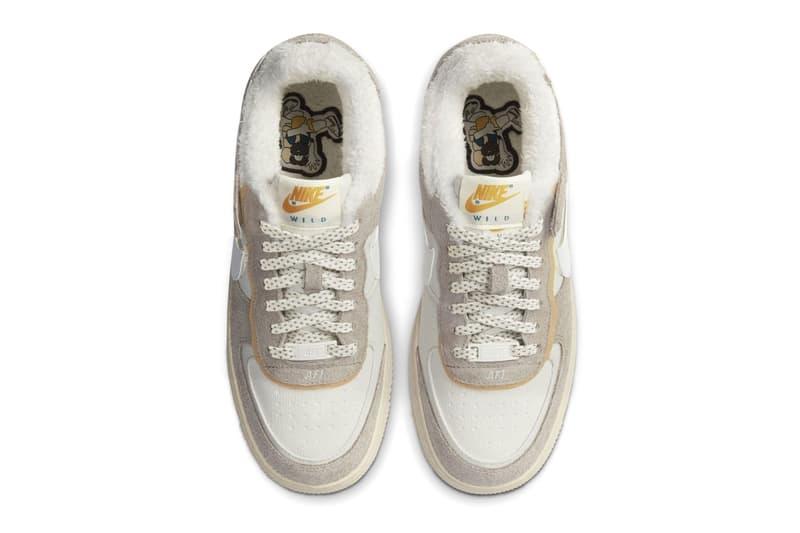 nike air force 1 af1 shadow wild fleece sherpa beige suede womens fall winter sneakers price release