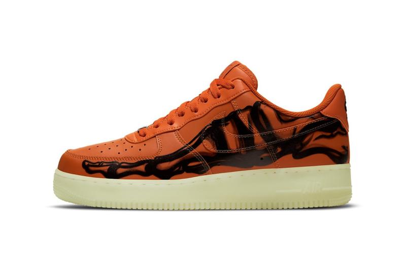 nike air force 1 sneakers skeleton halloween orange black colorway sneakerhead footwear shoes