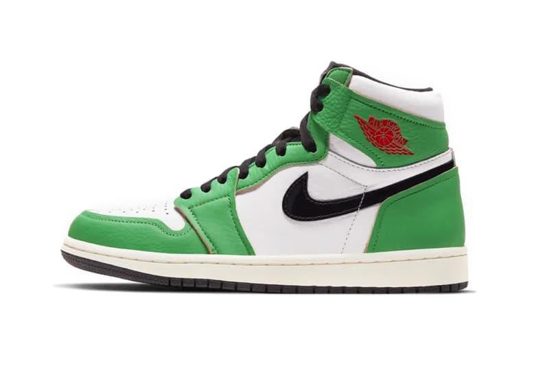 nike womens air jordan 1 aj1 high lucky green red white black boston sneakers release price info