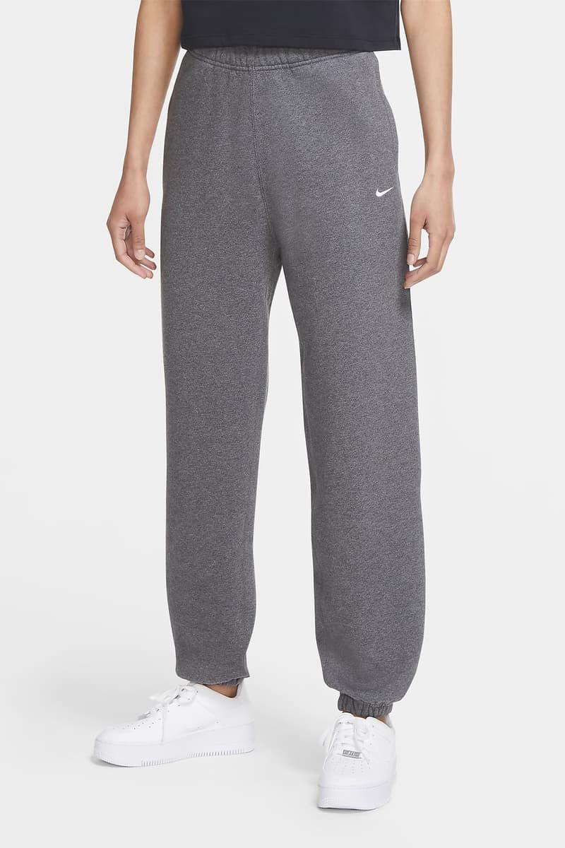 Nike NikeLab Women Fleece Sweatpants Swoosh Logo Charcoal Heather Gray Grey