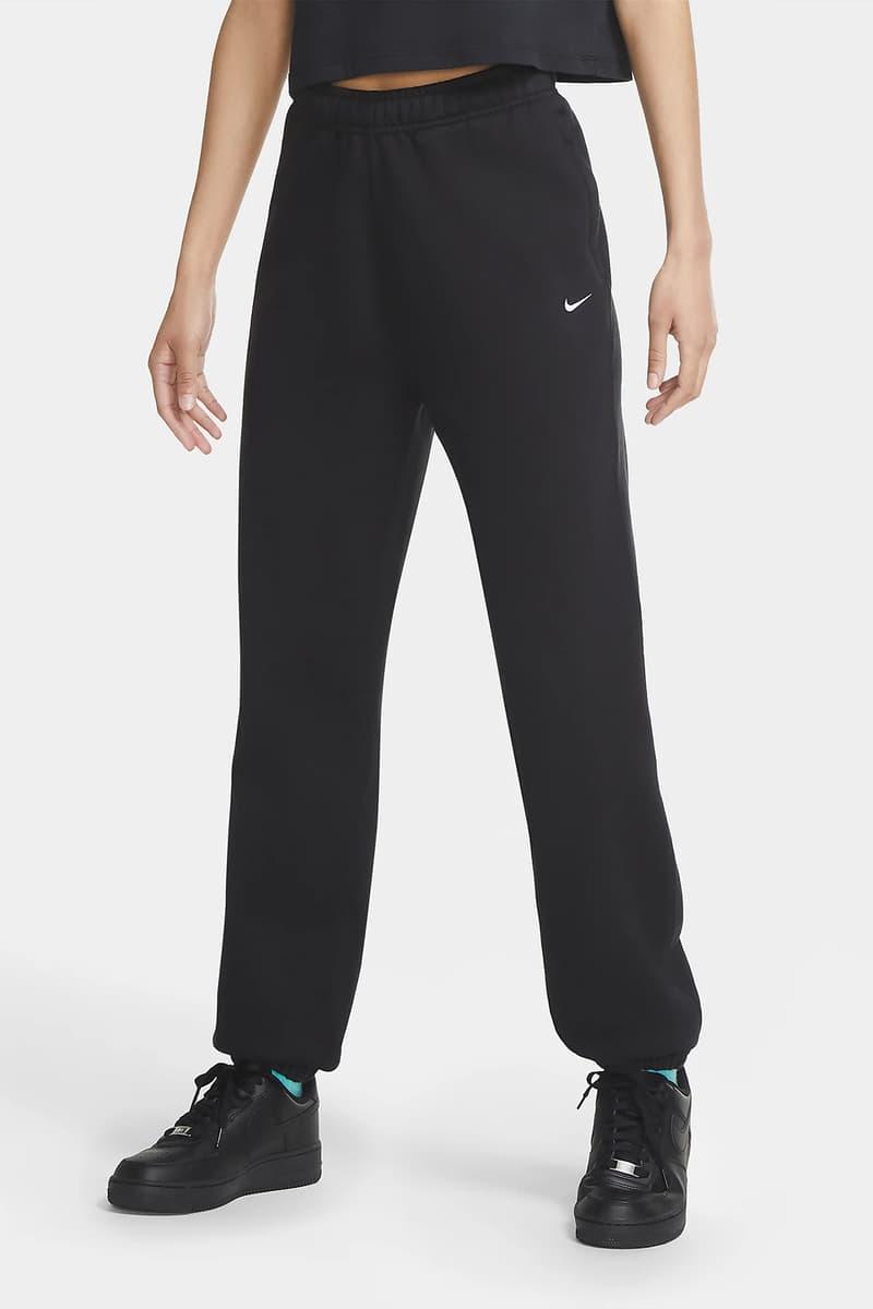 Nike NikeLab Women Fleece Sweatpants Swoosh Logo Black