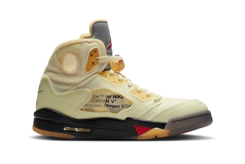 nike off white collaboration sneakers air jordan 5 sail colorway virgil abloh sneakerhead footwear shoes