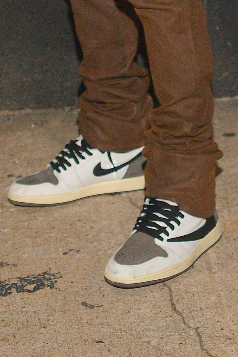 nike travis scott collaboration air jordan 1 high sneaekrs reverse white brown colorway on feet footwear sneakerhead shoes