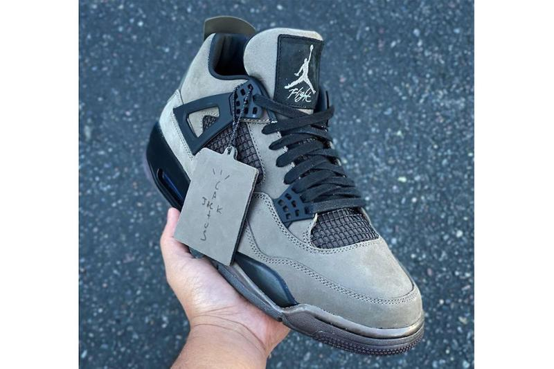 nike travis scott collaboration air jordan 4 sneakers olive green colorway sample unreleased sneakerhead footwear shoes