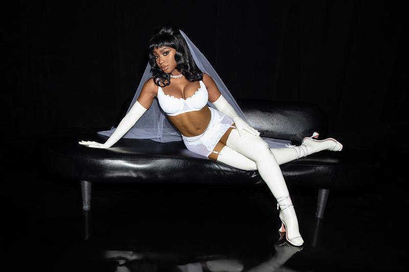 Rihanna Savage X Fenty Show Vol 2 Normani Lingerie White Bra Veil
