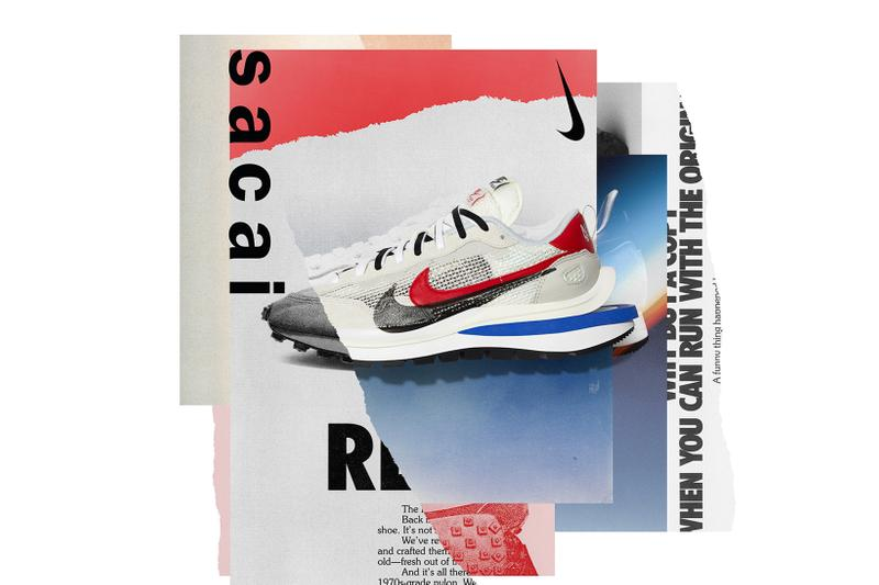 sacai nike vaporwaffle black summit white red blue burgundy sneakers collaboration release date info