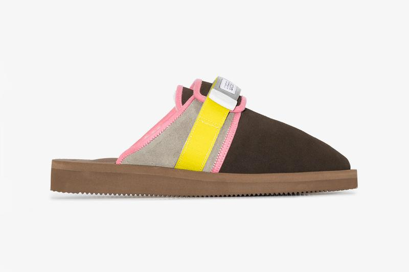 suicoke multicolored zavo mab slippers suede brown yellow pink grey velcro slides price release