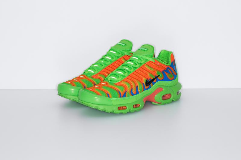 supreme nike collaboration air max plus sneakers black red neon green orange white shoes footwear sneakerhead