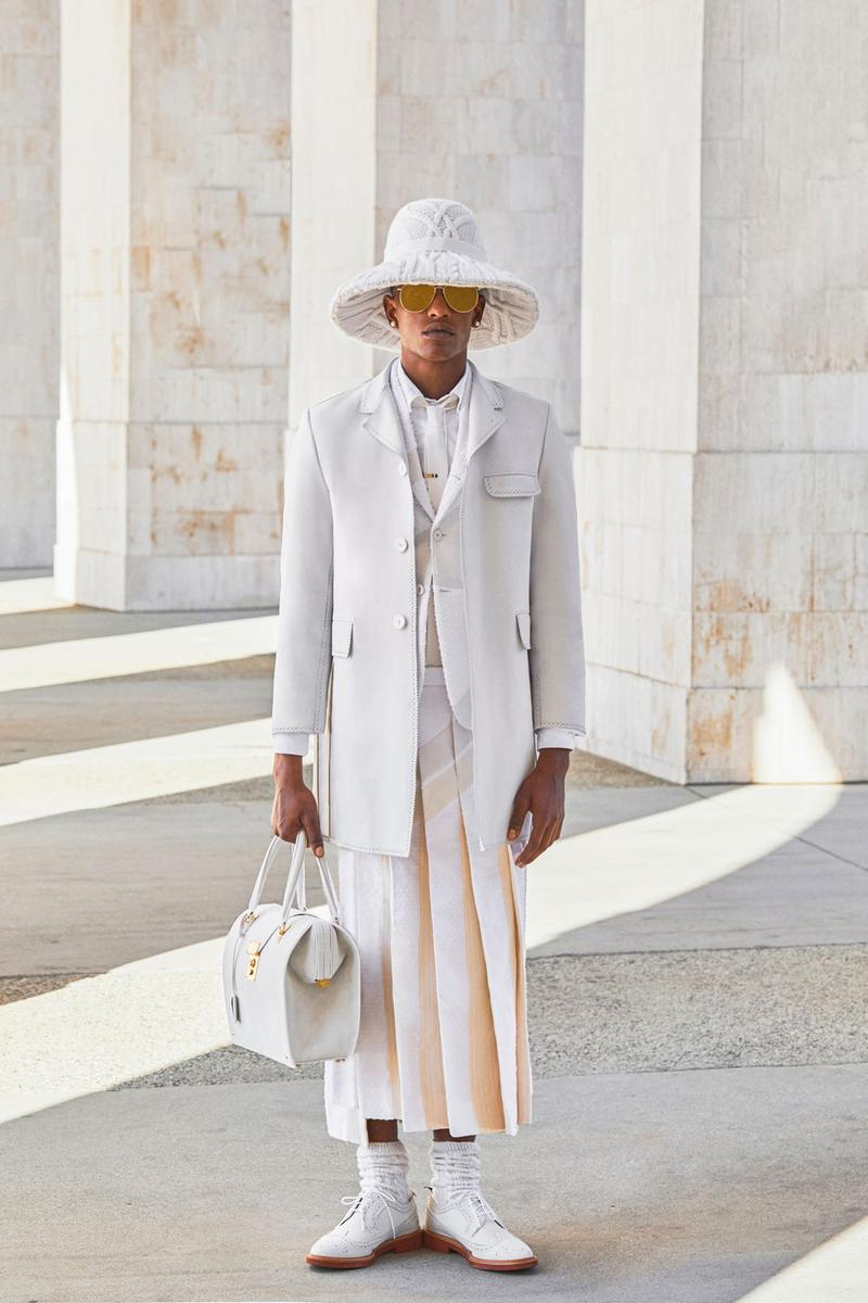 thom browne spring summer 2021 olympics all white oversized suits pleated skirts knitwear lookbook