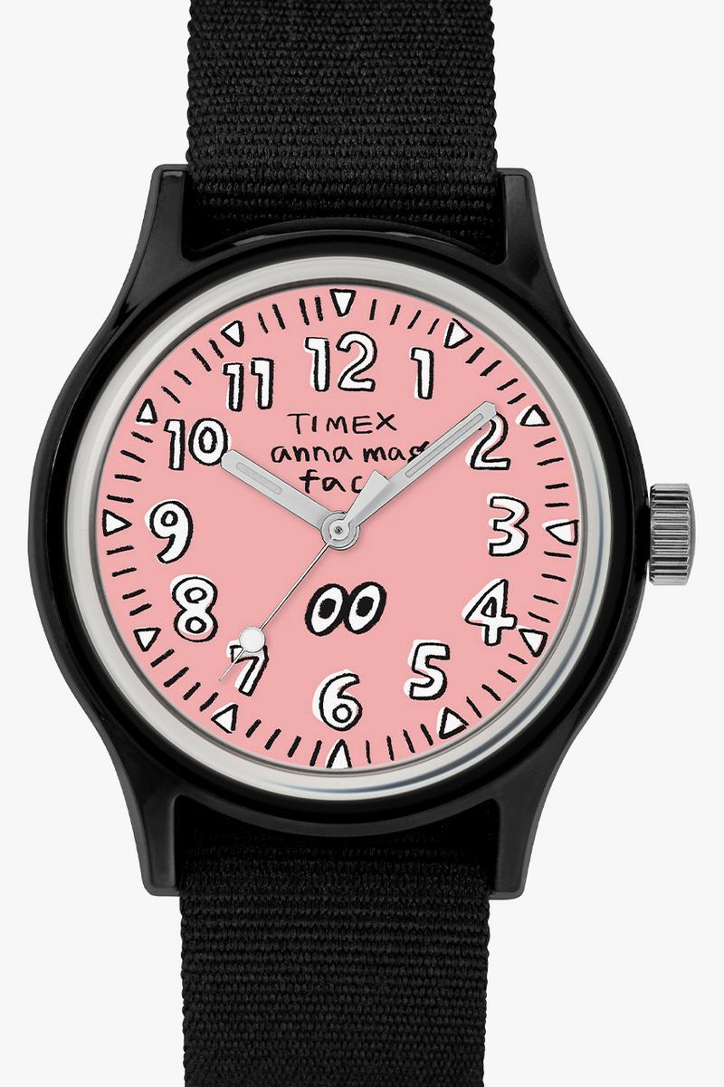 timex camper watches face illustrations anna magazine collaboration yellow pink orange price