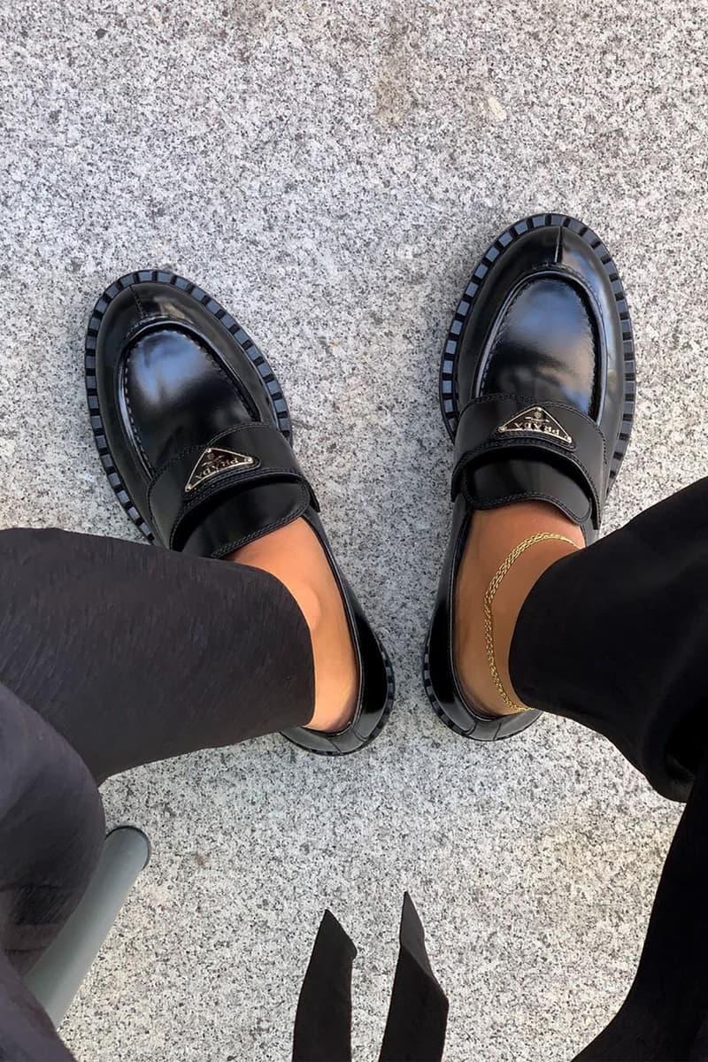 Prada Logo Leather Loafers Black Designer Shoes Anklet