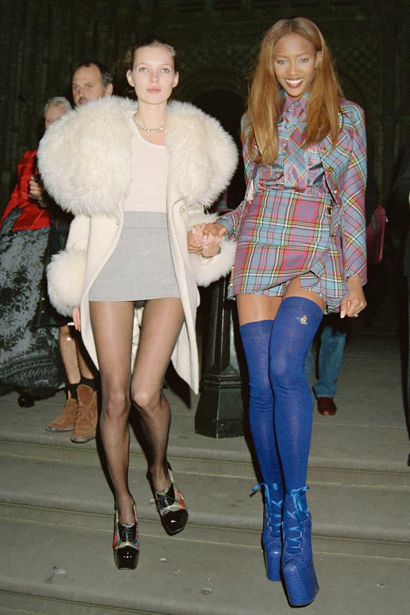 best mini kilt skirts 90s trend naomi campbell kate moss blue heeled boots plaid white fur gray pink