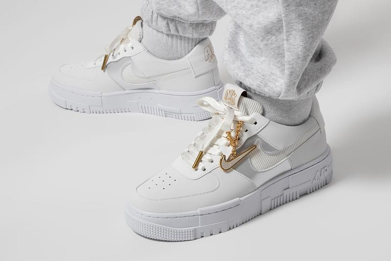 Nike Air Force 1 Pixel Gold Pendant Jewelry Sneaker White