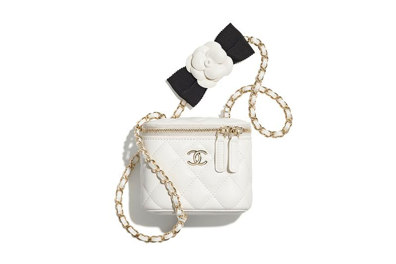chanel spring summer 2021 small leather goods white mini bag gold chain camellia bow