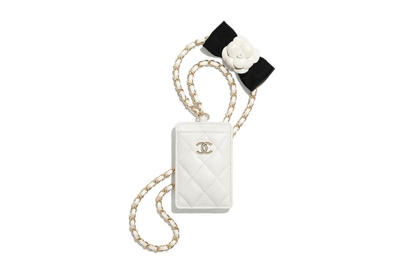 chanel spring summer 2021 small leather goods white card holder gold chain camellia bow