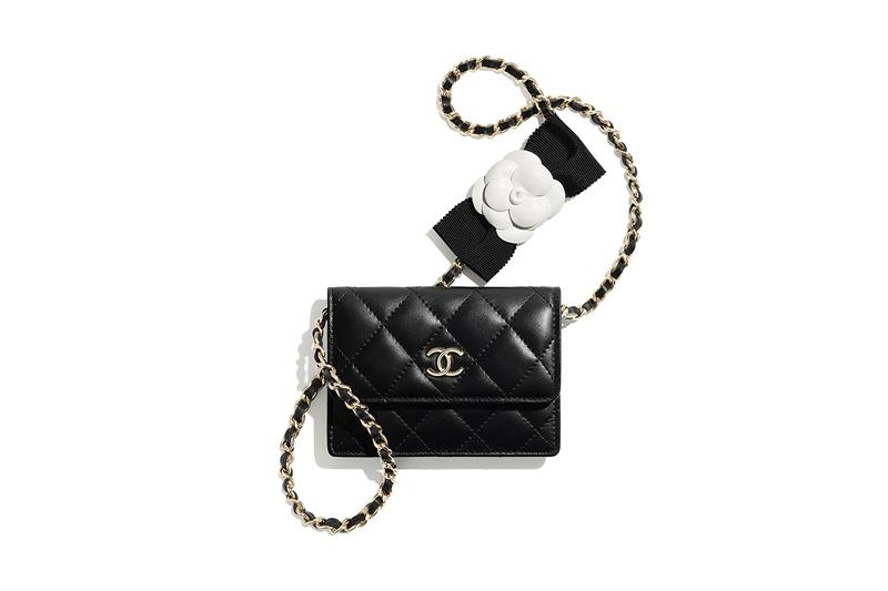 chanel spring summer 2021 small leather goods black mini bag wallet card holder gold chain camellia bow