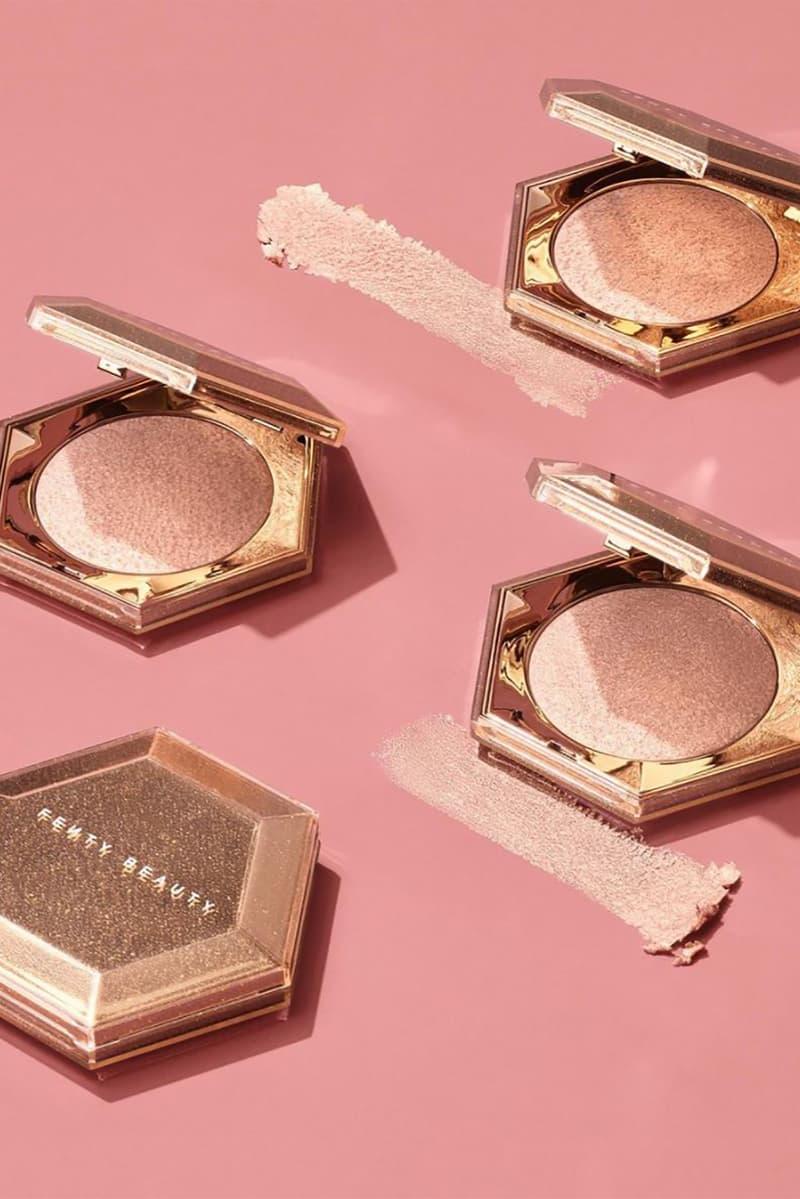 fenty beauty rihanna diamond bomb all over veil highlighter rose rave royal icing new shades makeup
