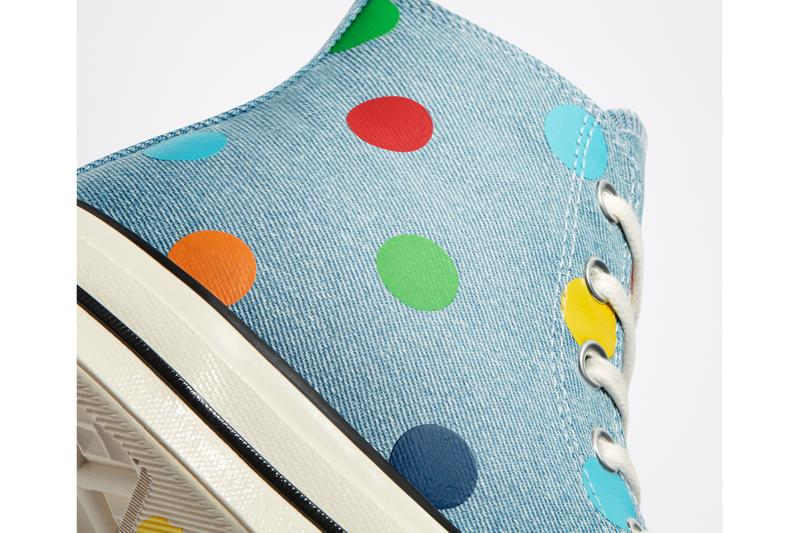 golf wang tyler the creator converse collaboration chuck 70 sneaker light blue polka dots colorway green red yellow white sneakerhead footwear shoes