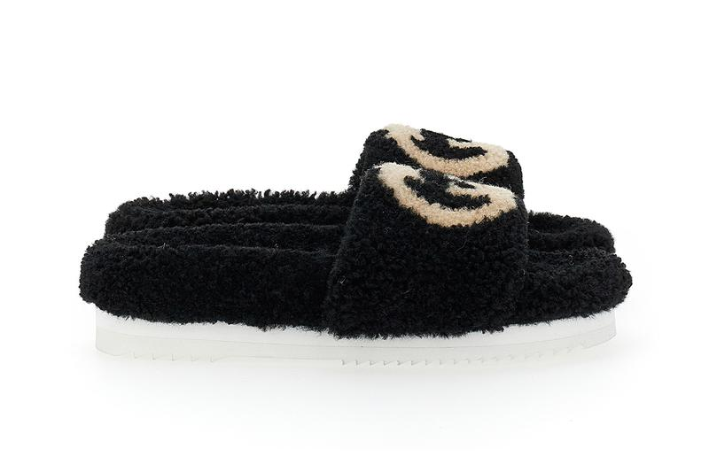 Gucci Eileen slides Shearling GG Logo Teddy Slippers Holiday 2020 Fall Winter Beige Black