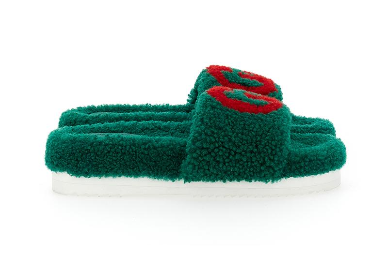 Gucci Eileen slides Shearling GG Logo Teddy Slippers Holiday 2020 Fall Winter Green Red