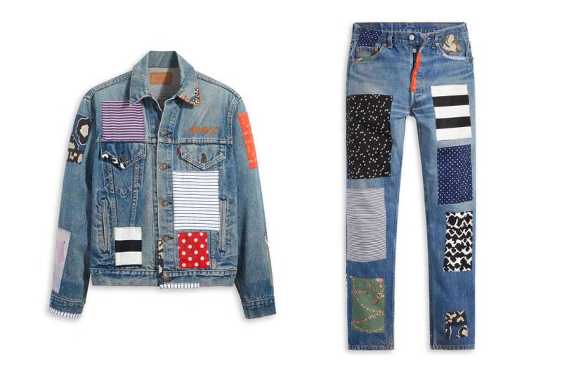 awake ny levis denim jeans 501 type iii truckers collaboration patchworked vintage patterns release