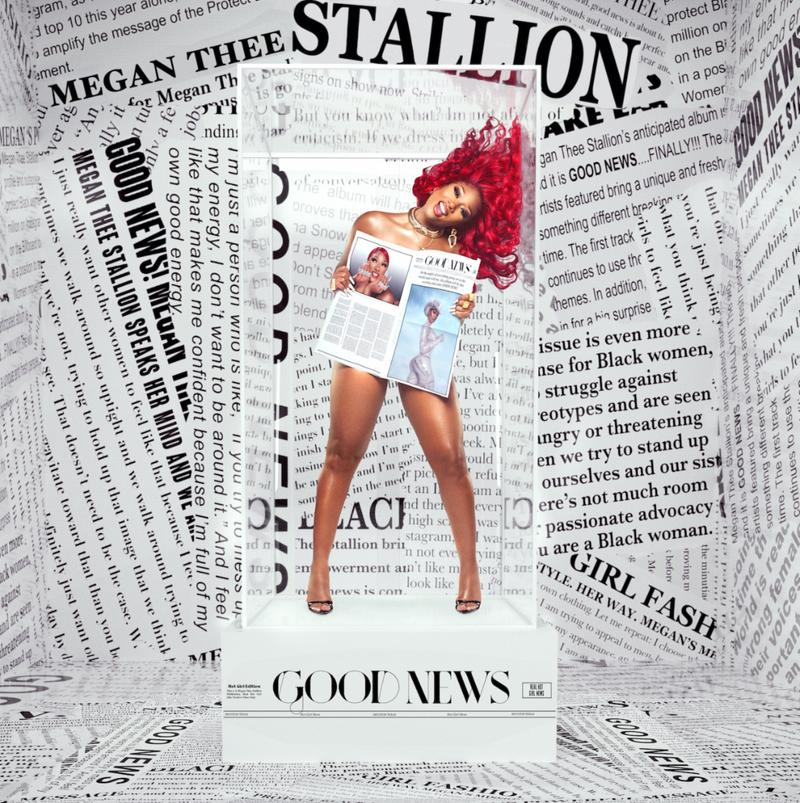 Megan Thee Stallion Good News Debut Album Cover Artwork Newspaper Print Red Hair Hairstyle Necklace Earrings Rapper Music Artist Houston Hottie