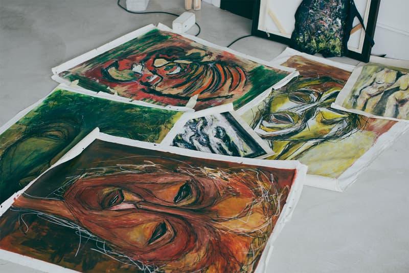 mizuki nishiyama artist paintings studio artworks floor