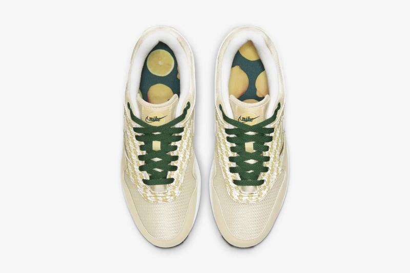 """Nike Air Max 1 Yellow """"Lemonade"""" Release Date Retro Logo Shoe"""