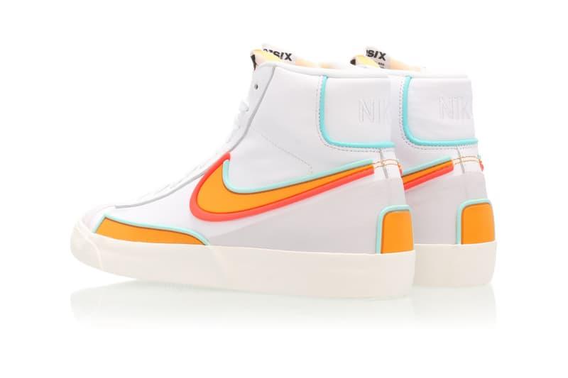 nike blazer mid 77 infinite sneakers white neon orange blue colorway sneakerhead footwear shoes