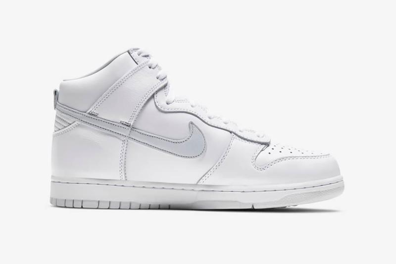 nike dunk high sneakers white silver gray pure platinum colorway sneakerhead footwear shoes