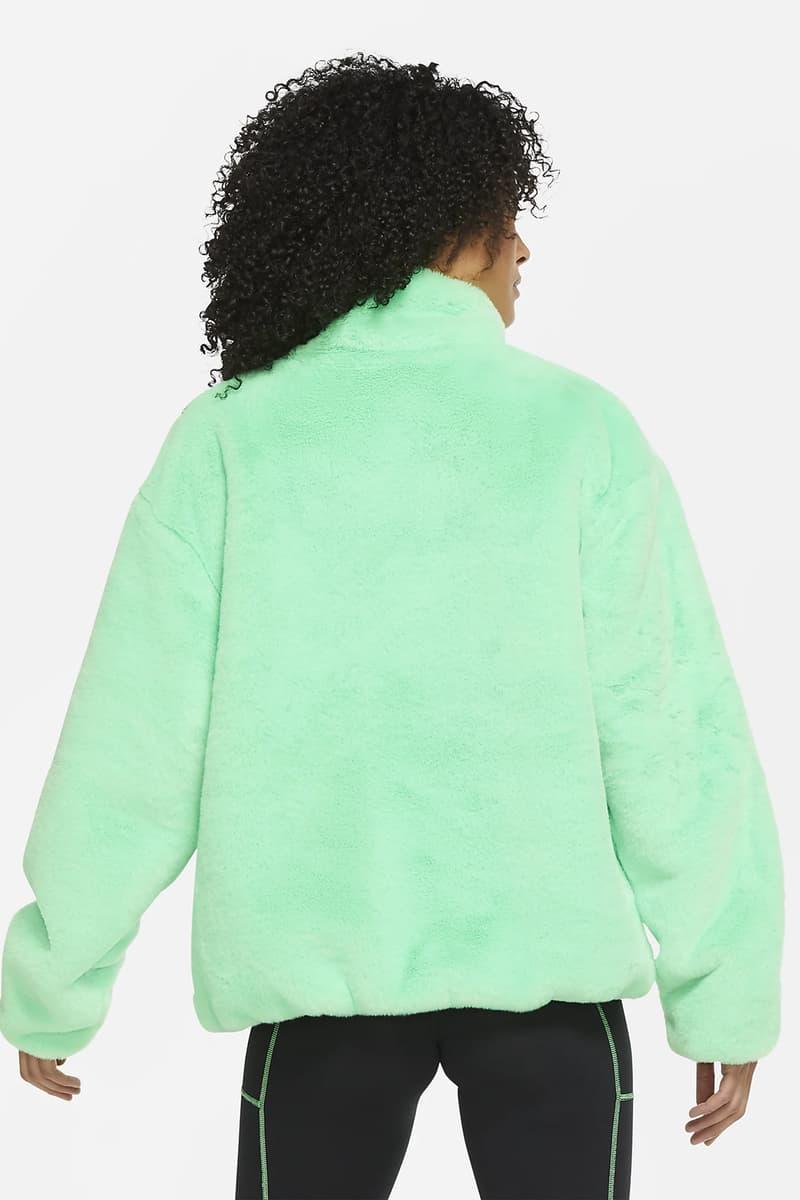 nike faux fur jacket mint green fuchsia pink swoosh outwear sportswear