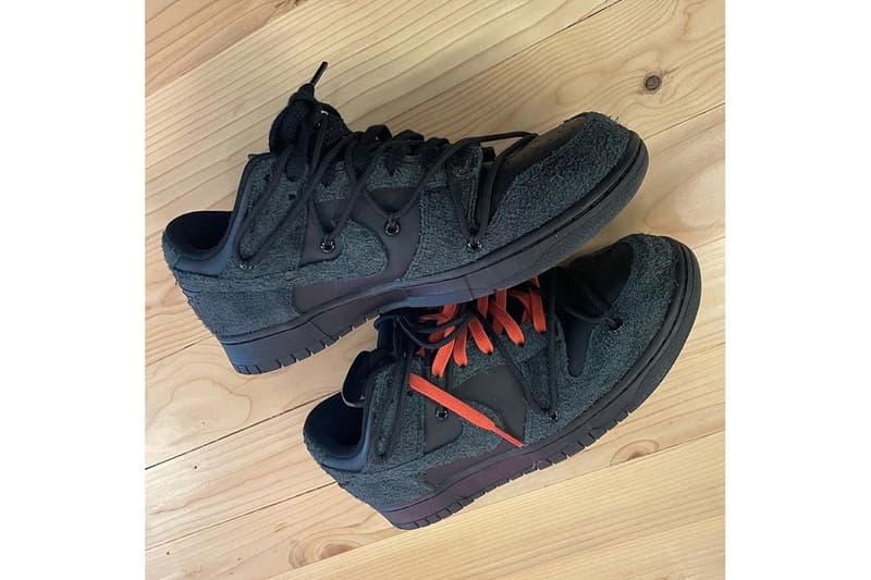 nike off white virgil abloh collaboration dunk low sneakers black colorway shoes sneakerhead footwear