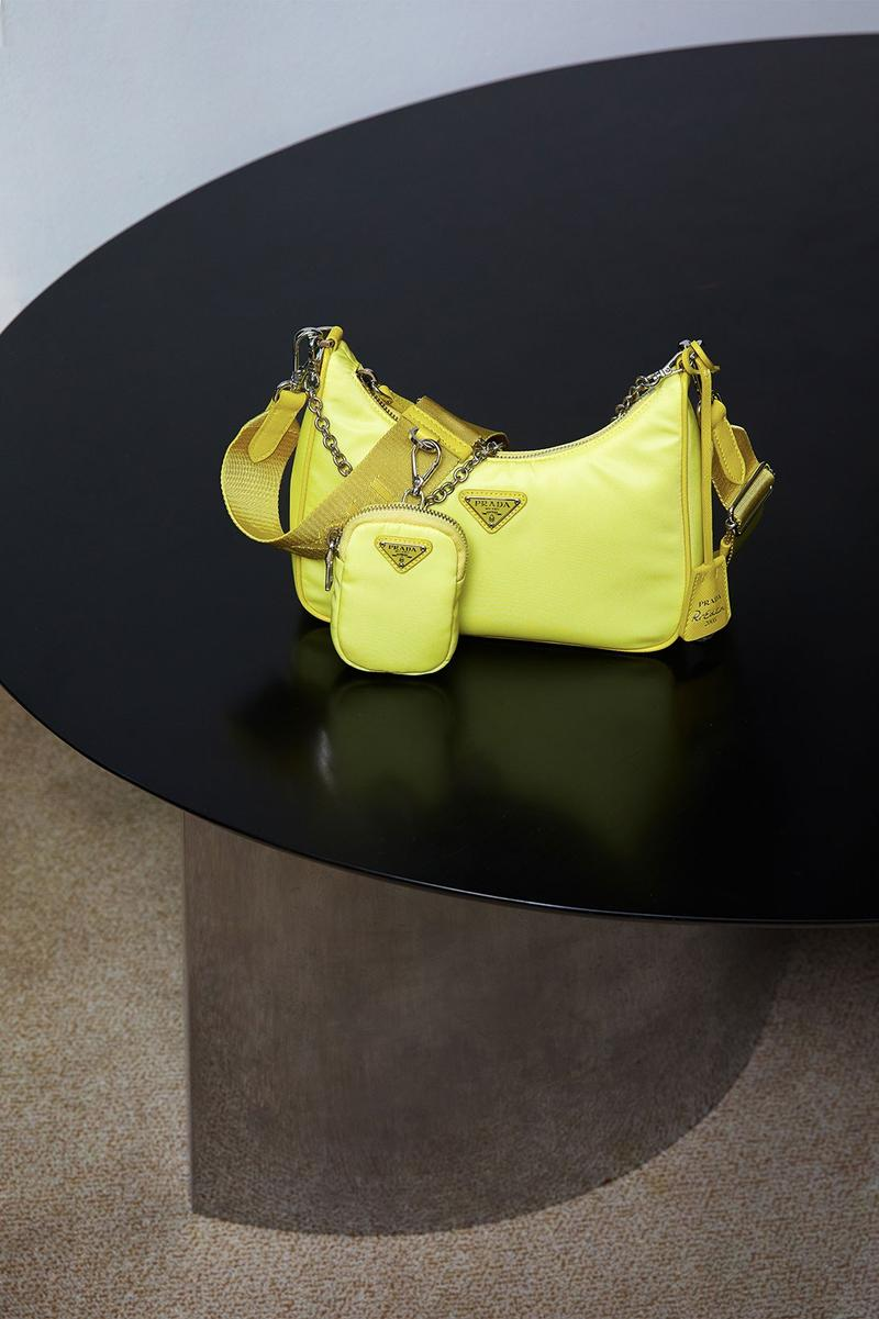 Prada Nylon Tessuto Bag Purse Neon Yellow Green