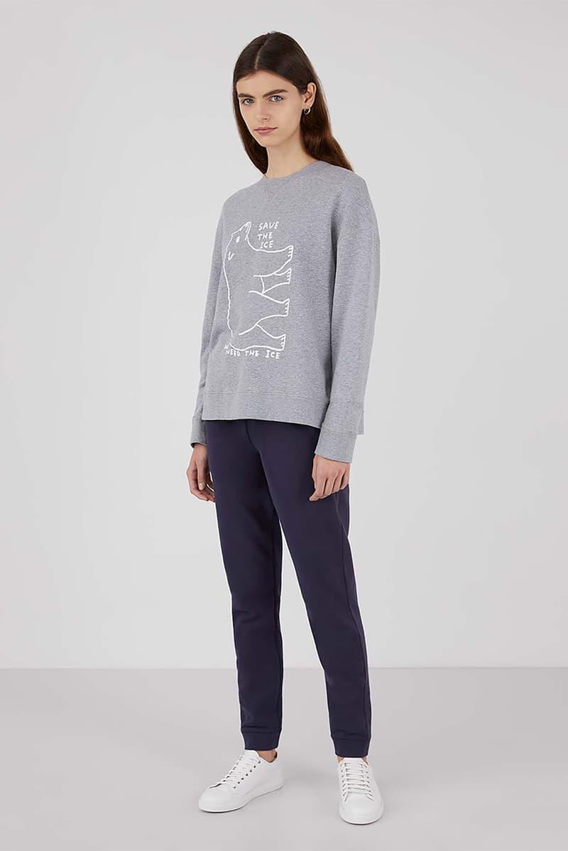 sunspel david shrigley obe collaboration christmas sweaters jumpers environmental awareness gray navy blue
