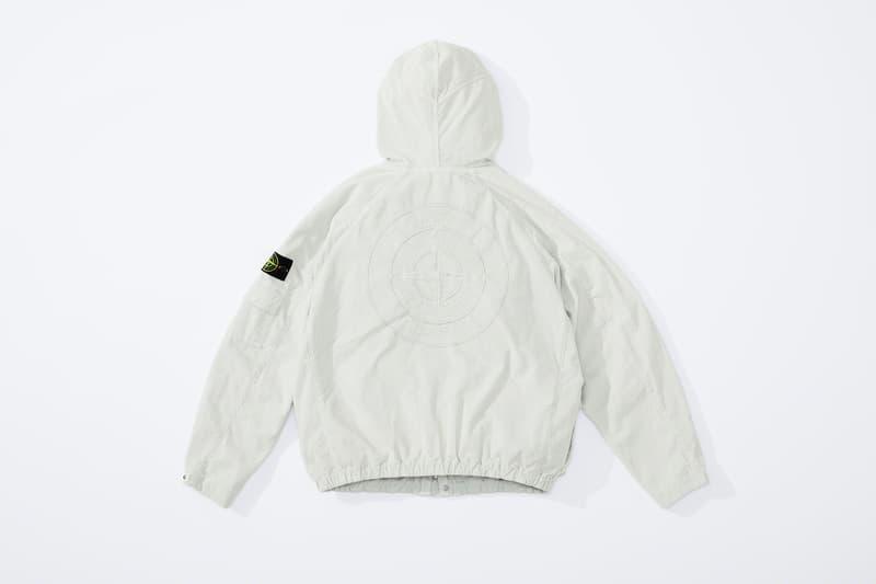 supreme stone island fall collaboration outerwear jackets hoodies bucket hats white black orange